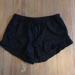 Black suede shorts